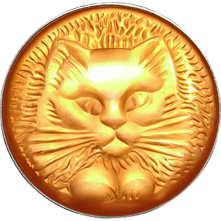 Vintage Lalique Glass Cat / Kitten Pin / Brooch Fabulous!