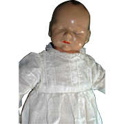 Darling Composition Effanbee Sleeping Babyette Doll in Lovely Antique Baby Gown