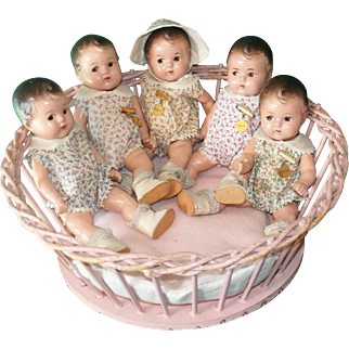 1930's All Original Dionne Quintuplet Toddlers by Madame Alexander