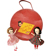 """Two 8"""" Vintage Betsy McCall Dolls with Wardrobe and Pretty-Pac Carrying Case"""