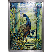 Spectacular Louis C. Tiffany Peacock Sun Catcher Stained Glass Panel by Glassmasters