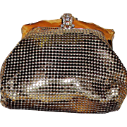 Elegant Whiting and Davis Gold Mesh Purse in Original Box with Ring and Bracelet