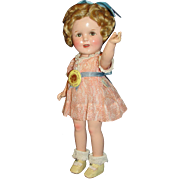 "Rare 13"" Composition Flirty- Eye Makeup Shirley Temple Doll - Later version, in Gorgeous Tagged Peach floral Dress!"