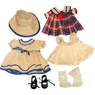 """16"""" Shirley Temple Composition Doll with Two tagged costumes!  Bright Eyes Good Ship Lollipop + Stand up cheer dress plus hat!"""