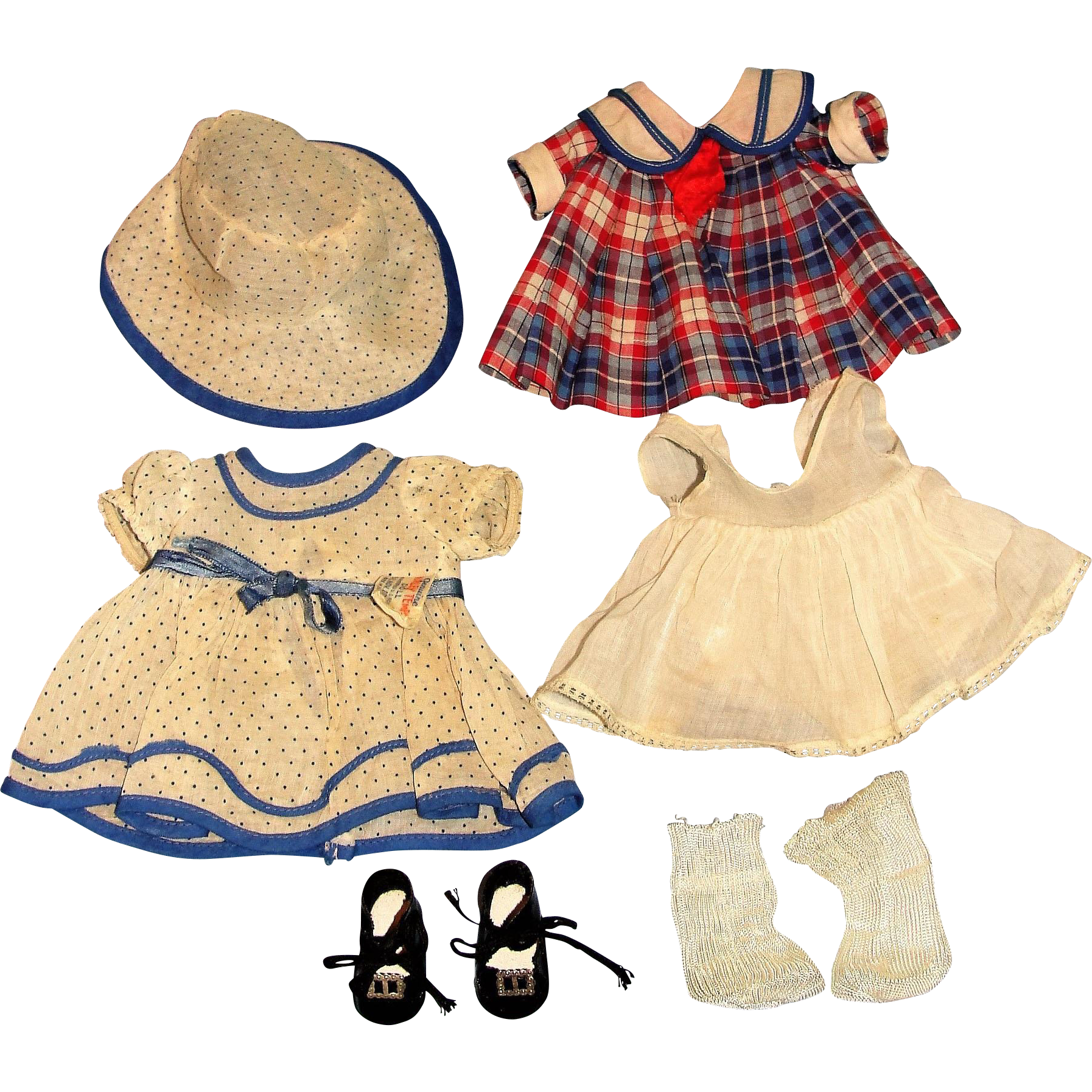 "16"" Shirley Temple Composition Doll with Two tagged costumes!  Bright Eyes Good Ship Lollipop + Stand up cheer dress plus hat!"