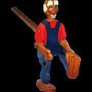 Old Carved wooden Folk Art Jig Dancer Doll / Toy