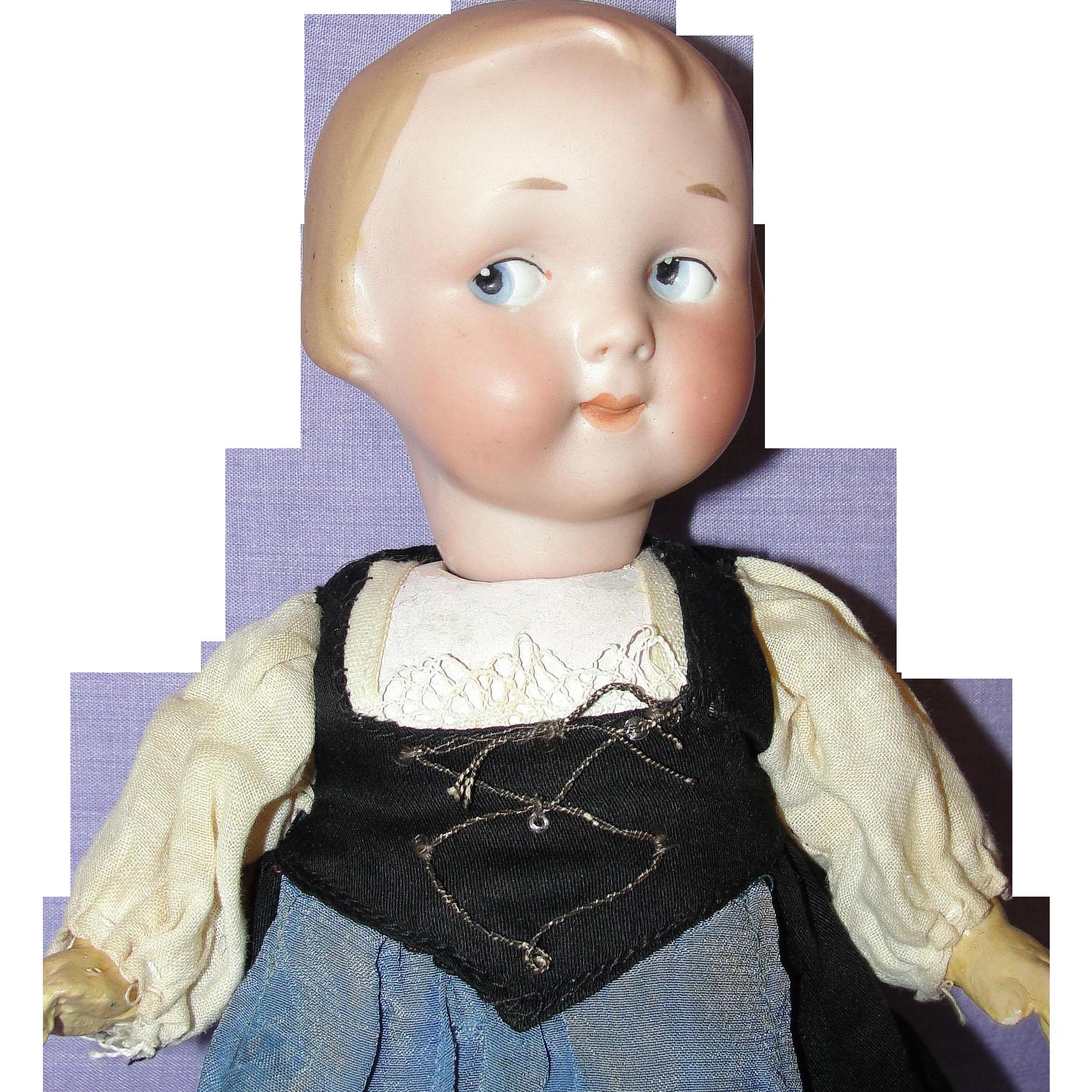 "All Original 9-1/2"" Antique German Armand Marseille Googly Doll"