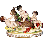 Huge Antique Capodimonte figurine of putti children with a goat - Marvelous, Playful, Beautiful!