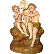 Antique Royal Dux figurine: Big White Dog with Children