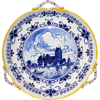 Antique Blue Delft Gouda Tri-handled Platter