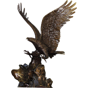 "Vintage ""Wings Of Glory"" Eagle Bronze Sculpture by Roland Van Ruyckevelt"