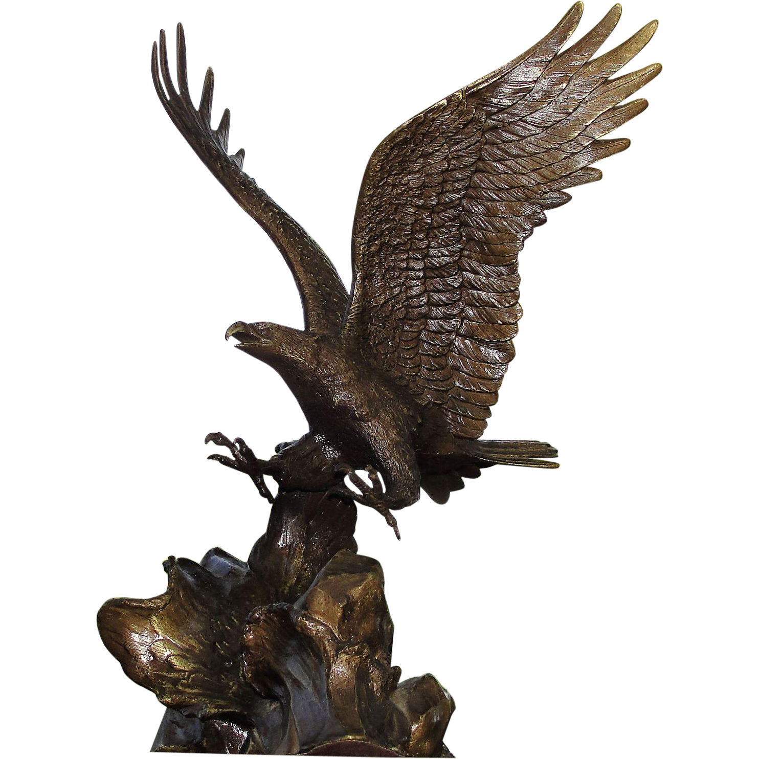 """Vintage """"Wings Of Glory"""" Eagle Bronze Sculpture by Roland Van Ruyckevelt"""