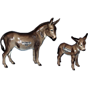 Rare Early Hagen Renaker Donkey figurines: Adelaide and Harry Designed by Maureen Love