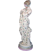 Exquisite Large Antique KPM German Porcelain Bisque Sculpture / Figurine - Gorgeous Partially Nude Draped Lady OR Goddess