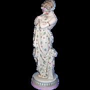 Exquisite Large Antique KPM German Porcelain Bisque Sculpture / Figurine - Gorgeous Partially Nude Draped Lady OR Goddess