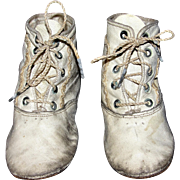 Antique Pair of Leather Toddler Shoes suitable for large antique dolls