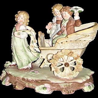 A Beautiful Antique German Figurine of Children on a Cart by Carl Schneider ca 1895