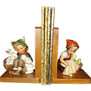Early Tmk 2 Hummel Bookends - Chick Girl & Playmates - Adorable!