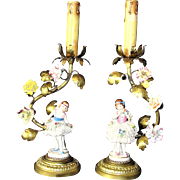 Rare Pair of Antique French Tole Art Ballerina Lamps