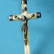 French Mother of Pearl Crucifix with Sterling