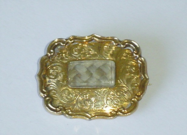 Antique 12Kt Gold Late Georgian Early Victorian Hair Mourning Brooch Pin