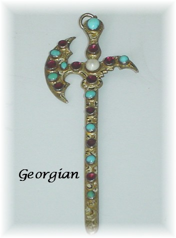 Rare Georgian Antique Scottish Halberd Pendant with Garnets Turquoise and Pearl