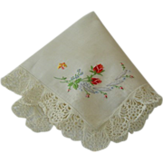 Vintage Wedding Hankie Hanky with Rose Embroidery