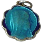 Blue Enamel Virgin Mary Lourdes Medal