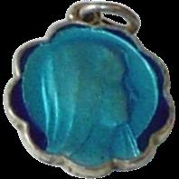 Blue Enamel Virgin Mary Lourdes Medal