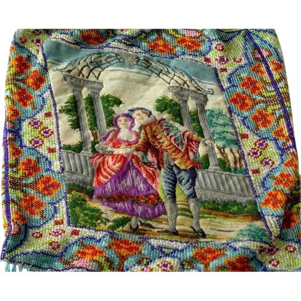 Antique Estate Figural Country Couple Beaded and Petitpoint Petit Point Purse