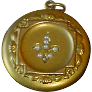 Art Nouveau Gold Filled Seed Pearl Locket