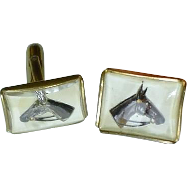 Essex Crystal Cuff Links with Classic Horse Motif