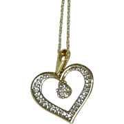 Vintage 10K Gold Articulated Heart Pendant with Diamonds