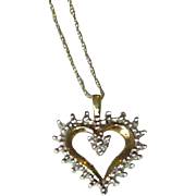 10K Gold and Diamond Heart Pendant with Chain