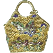Estate Antique Chinese Export Gilt Silver & Enamel Butterfly Pendant Doll Purse