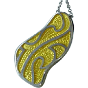 Modernist Sterling Silver Enamelled Enamel Pendant on Sterling Chain Necklace