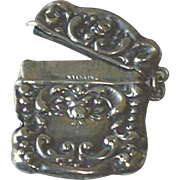 Antique Sterling Silver Repousse Stamp Holder c1900
