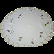 Vintage Silk Society Embroidery Violets Doily Centerpiece