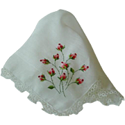 Vintage Batiste Lawn Hanky Hankie with Hand Embroidered Rosebuds and Tatted Lace Edge