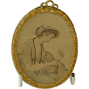 Antique Miniature French Portrait of Lady Sewing Picture in Ormolu Gold Frame