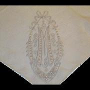 "Vintage Mongram ""M"" Hankie Hanky Handkerchief"