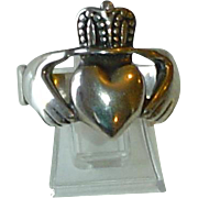 Vintage Sterling Silver Irish Fede Claddagh Heavy Man's Ring