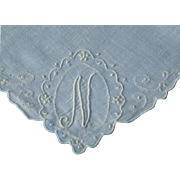 Vintage Linen Monogram N Hankie Hanky Handkerchief