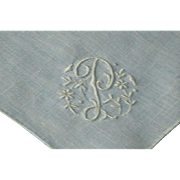 Vintage Madeira Linen Monogram P Hanky Hankie Handkerchief