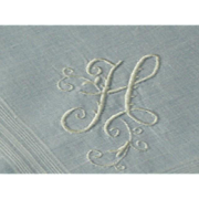 Vintage Madeira Linen Monogram H Hanky Hankie Handkerchief