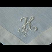 Vintage Linen Madeira Monogram H Hanky Hankie Handkerchief