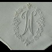 Vintage Linen Monogram W Hanky Hankie Handkerchief