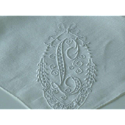 Vintage Linen Monogram C Hanky Hankie Handkerchief