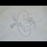 Vintage Linen Monogram C Hankie Hanky Handkerchief