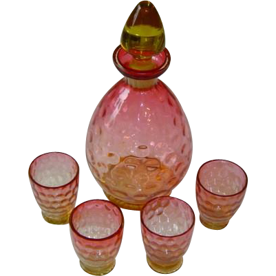 Antique Cranberry Amberina Thumbprint Decanter with Glasses